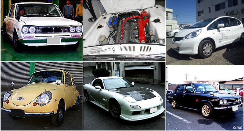 Skyline GT-R KPGC10, S20, Toyota Celica LB2000, スバル360, Mazda RX-7 FD, Datsun Bluebird 510, ブルーバード510